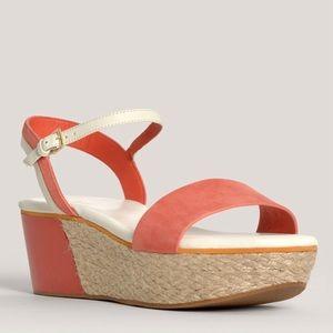 COLE HAAN Arden orange wedge sandal 7AA